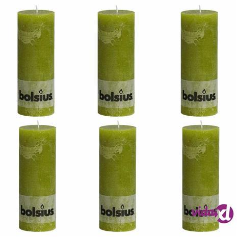 Bolsius Pilarikynttilät 6 kpl rustiikkinen 190x68 mm sammaleenvihreä