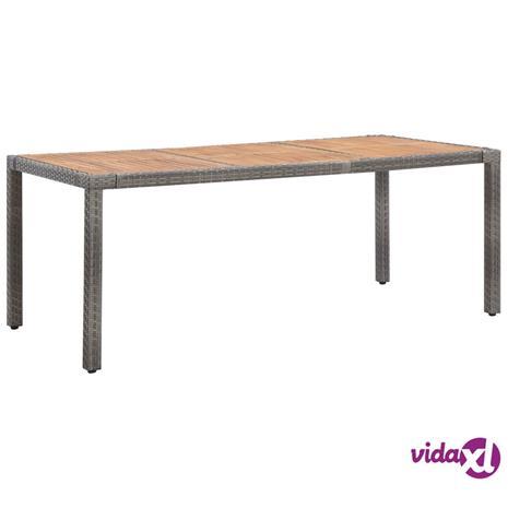 vidaXL Puutarhapöytä harmaa 190x90x75 cm polyrottinki ja akaasiapuu