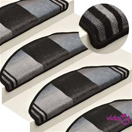 vidaXL Itsekiinnittyvät porrasmatot 15 kpl musta ja harmaa 65x21x4 cm