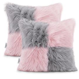 AmeliaHome Nancy -tyynynpäälinen, vaaleanpunainen/harmaa, 45 x 45 cm, 2 kpl