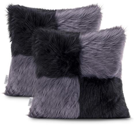 AmeliaHome Nancy -tyynynpäälinen, musta/harmaa, 45 x 45 cm, 2 kpl