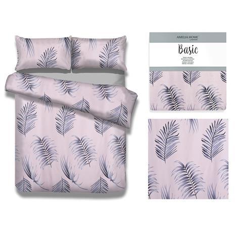 AmeliaHome Pink Palms -pussilakanasetti, 200 x 200 cm + 2x tyynyliina 80 x 80 cm