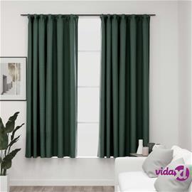vidaXL Pellavamaiset pimennysverhot koukuilla 2 kpl vihreä 140x175 cm
