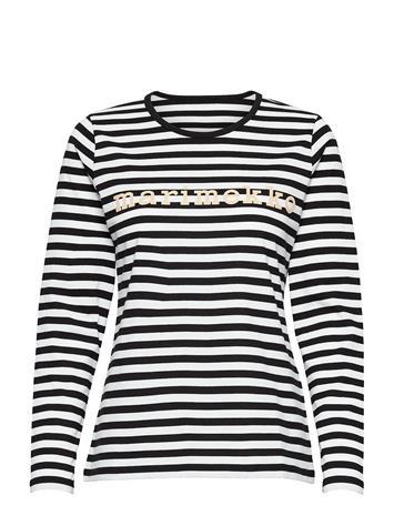 Marimekko Logo Mari Shirt T-shirts & Tops Long-sleeved Musta Marimekko BLACK, WHITE, BEIGE, Naisten paidat, puserot, topit, neuleet ja jakut