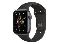 Apple Watch SE GPS tähtiharmaa alumiinikuori 44 mm musta urheiluranneke MYDT2KS/A