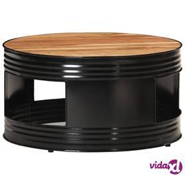vidaXL Sohvapöytä musta 68x68x36 cm täysi akaasiapuu