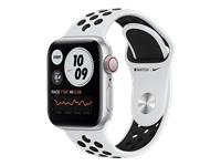 Apple Watch Nike SE GPS + Cellular hopeanvärinen alumiinikuori 40 mm Pure Platinum/musta Nike urheiluranneke MYYW2KS/A