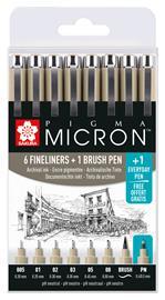 Sakura Pigma Micron Fineliner musta 7+1-setti