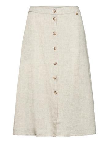 Morris Lady Nathalie Linen Skirt Polvipituinen Hame Beige Morris Lady KHAKI