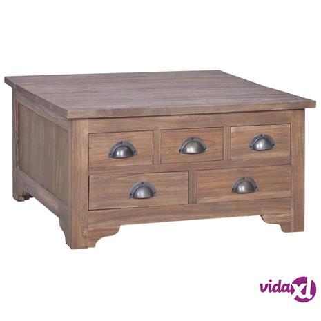 vidaXL Sohvapöytä kääntyvällä pöytälevyllä 65x65x34 cm täysi tiikki