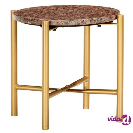 vidaXL Sohvapöytä ruskea 40x40x40 cm aito kivi marmorikuviolla