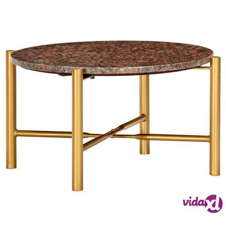 vidaXL Sohvapöytä ruskea 60x60x35 cm aito kivi marmorikuviolla