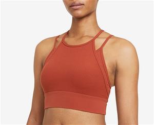 Nike naisten urheilurintaliivi INDY YOGA NVLTY BRA, konjakinruskea S