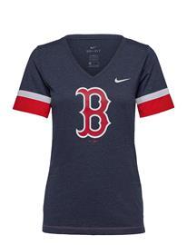 NIKE Fan Gear Boston Red Sox Nike Mesh Logo Fashion Vneck T-Shirt T-shirts & Tops Short-sleeved Sininen NIKE Fan Gear MIDNIGHT NAVY HEATHER