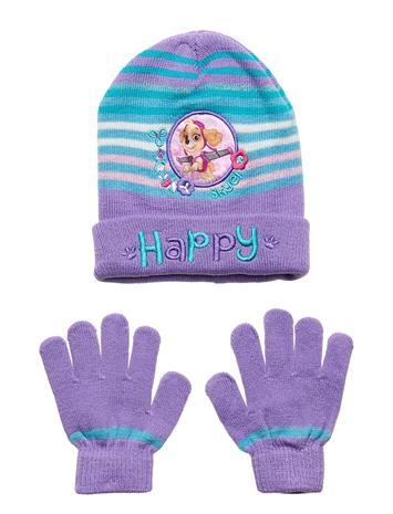 Paw Patrol Set 2 Pcs Multi Hat And Gloves Accessories Headwear Hats Liila Paw Patrol PURPLE