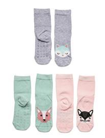 Lindex Sock 3p Sg Animal Face Antisli Socks & Tights Socks Vihreä Lindex TURQUOISE
