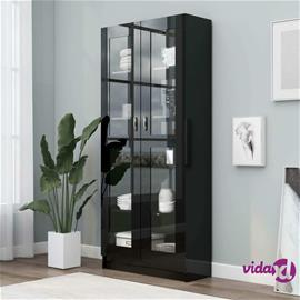 vidaXL Vitriinikaappi korkeakiilto musta 82,5x30,5x185,5 cm lastulevy