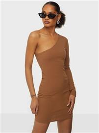 Parisian One Shoulder Body Mini Dress Camel