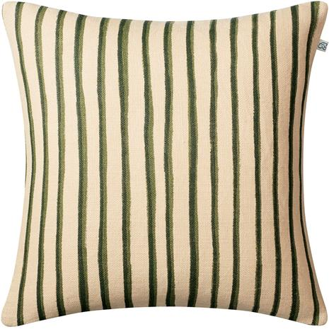 Chhatwal & Jonsson Chhatwal & Jonsson-Jaipur Stripe Cushion Cover, Green 50x50 cm Light Beige / Cactus Green / Green