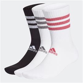adidas Glam 3-Stripes Cushioned Crew Sport Socks 3 Pairs