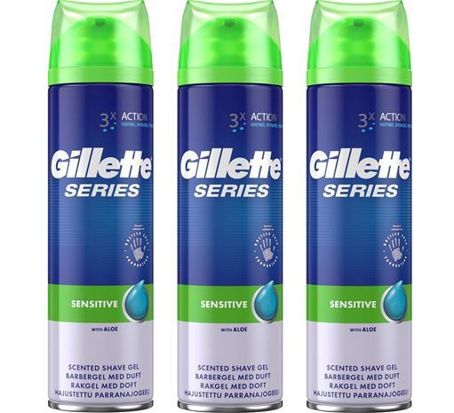 Gillette Series Sensitive Shave Gel 3 x 200ml, parranajogeeli