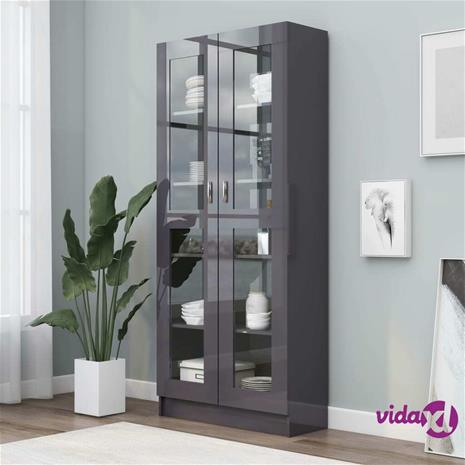 vidaXL Vitriinikaappi korkeakiilto harmaa 82,5x30,5x185,5 cm lastulevy