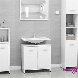 vidaXL Kylpyhuonekaappi korkeakiilto valkoinen 60x33x58 cm lastulevy