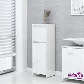 vidaXL Kylpyhuonekaappi korkeakiilto valkoinen 30x30x95 cm lastulevy