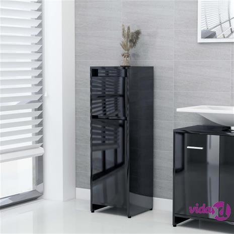 vidaXL Kylpyhuonekaappi korkeakiilto musta 30x30x95 cm lastulevy