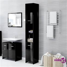 vidaXL Kylpyhuonekaappi korkeakiilto musta 30x30x183,5 cm lastulevy