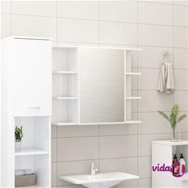 vidaXL Kylpyhuoneen peilikaappi korkeakiilto valkoinen 80x20,5x64 cm