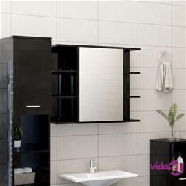 vidaXL Kylpyhuoneen peilikaappi korkeakiilto musta 80x20,5x64 cm