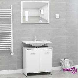 vidaXL Kylpyhuoneen kalustesarja valkoinen lastulevy