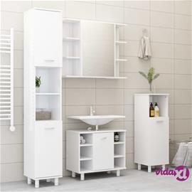 vidaXL 4-osainen kylpyhuonekalustesarja korkeakiilto valk. lastulevy
