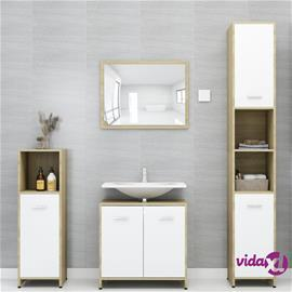 vidaXL 4-osainen kylpyhuoneen kalustesarja valk. ja Sonoma-tammi levy