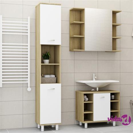 vidaXL 3-osainen kylpyhuoneen kalustesarja valkoinen/sonoma tammilevy