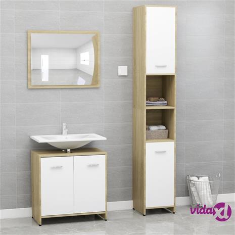 vidaXL 3-osainen kylpyhuoneen kalustesarja valk. ja Sonoma-tammi levy