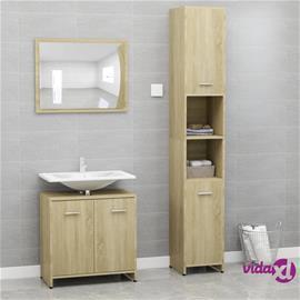 vidaXL 3-osainen kylpyhuoneen kalustesarja Sonoma tammi lastulevy