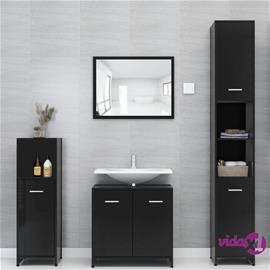 vidaXL 3-osainen kylpyhuone kalustesarja korkeakiilto musta lastulevy