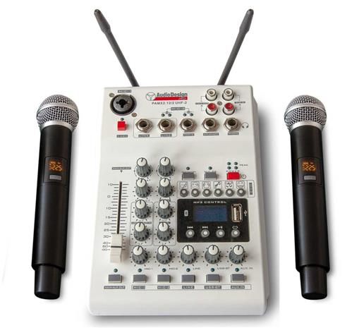 Audio Design Pro PAMX 2.12 / 2UHF, karaokemikseri ja 2 langatonta mikrofonia