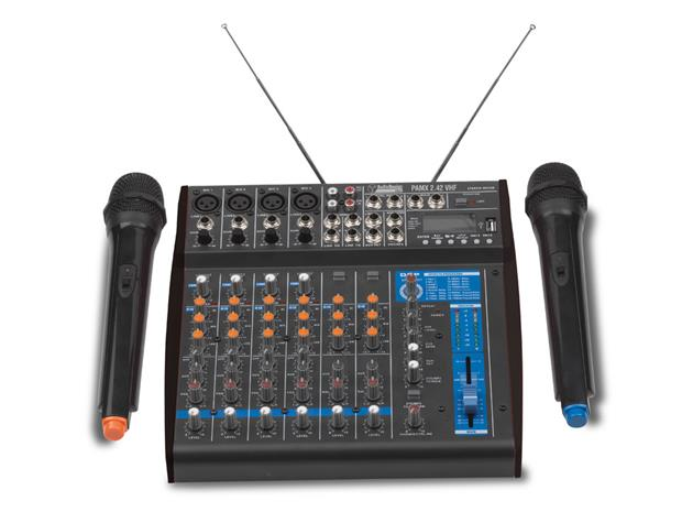 Audio Design Pro PAMX2.42 VHF, karaokemikseri ja 2 langatonta mikrofonia