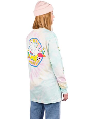 RIPNDIP Unicorn Rider Long Sleeve T-Shirt aqua / pink sprial wash Naiset