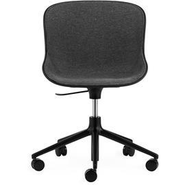 Normann Copenhagen Hyg Swivel Chair 5W Upholstered, Main Line Flax, Black/Black