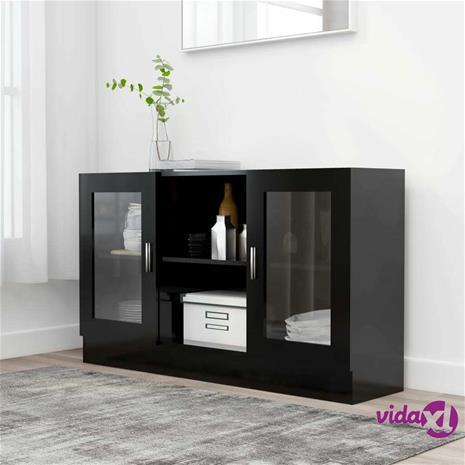 vidaXL Vitriinikaappi musta 120x30,5x70 cm lastulevy