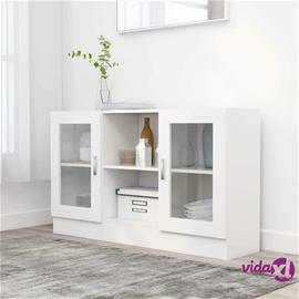 vidaXL Vitriinikaappi valkoinen 120x30,5x70 cm lastulevy