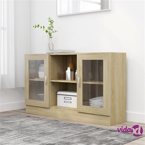 vidaXL Vitriinikaappi Sonoma-tammi 120x30,5x70 cm lastulevy