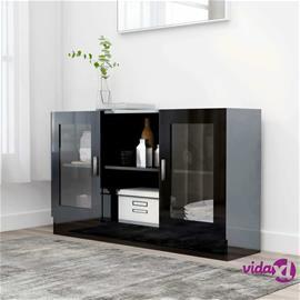 vidaXL Vitriinikaappi korkeakiilto musta 120x30,5x70 cm lastulevy