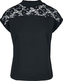 Urban Classics - Ladies Lace Yoke Tee - T-paita - Naiset - Musta