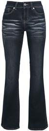 Black Premium by EMP - Grace - Dunkelblaue Jeans mit Waschung und Schlag - Farkut - Naiset - Tummansininen