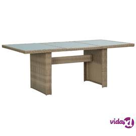 vidaXL Puutarhan ruokapöytä ruskea 200x100x74 cm lasi ja polyrottinki